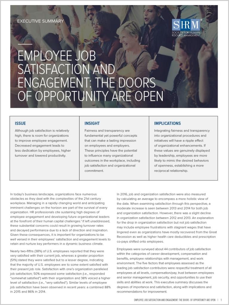 job satisfaction research methodology