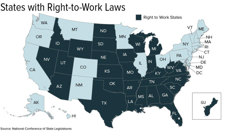 Right To Work States Vs Union States Map.What Does The Supreme Court S Union Dues Ruling Mean For Hr