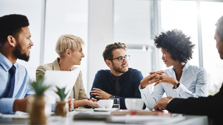 diverse group having a conversation