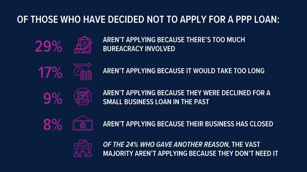 Reasons businesses did not apply for a PPP loan