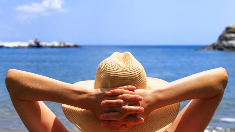 woman relaxing in beach chair