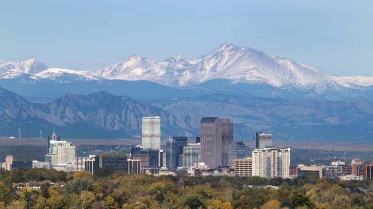 Denver skyline and mountains