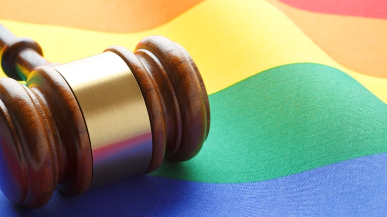 rainbow flag and gavel