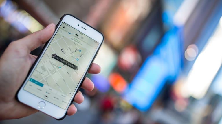 ride-hailing app on phone