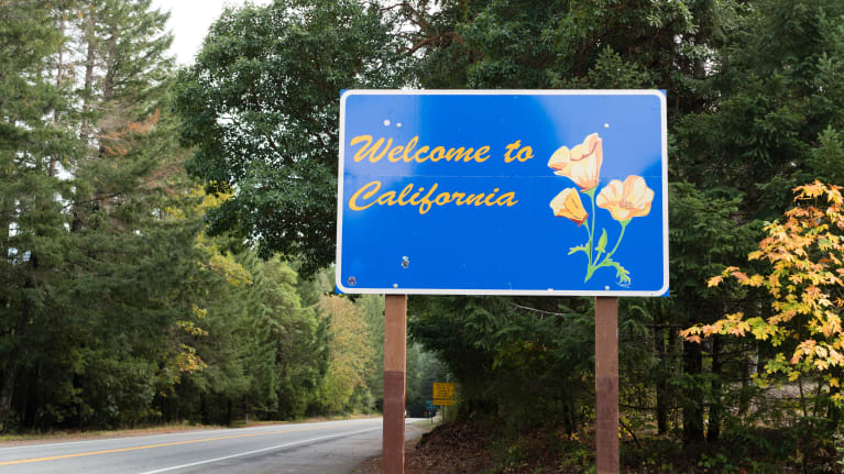 Welcom to California road sign