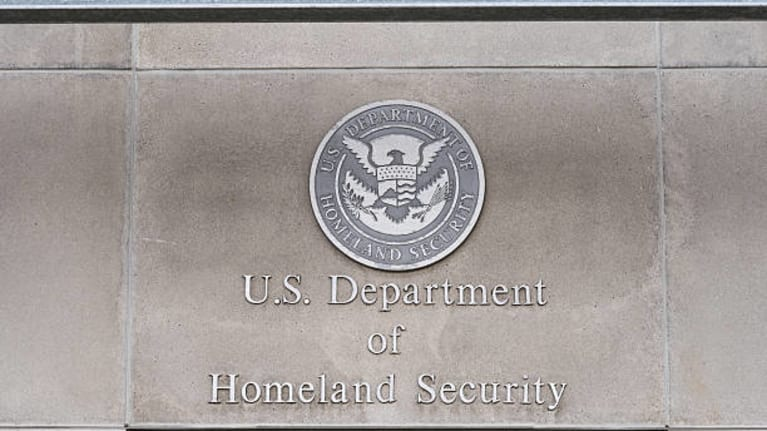 Department of Homeland Security sign and seal on the side of a building