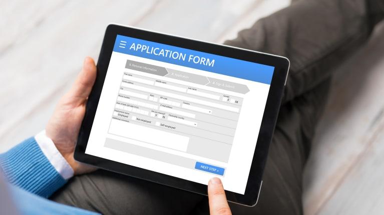 job application on tablet