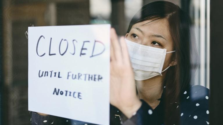 woman closing business