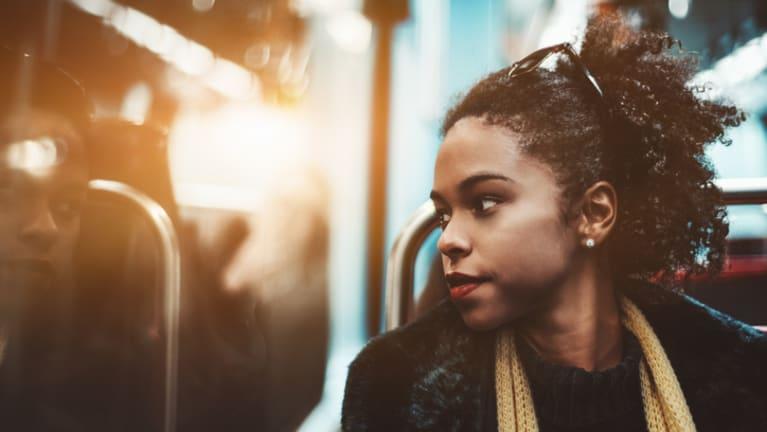 black girl on train