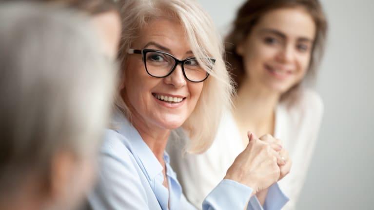 older woman at meeting