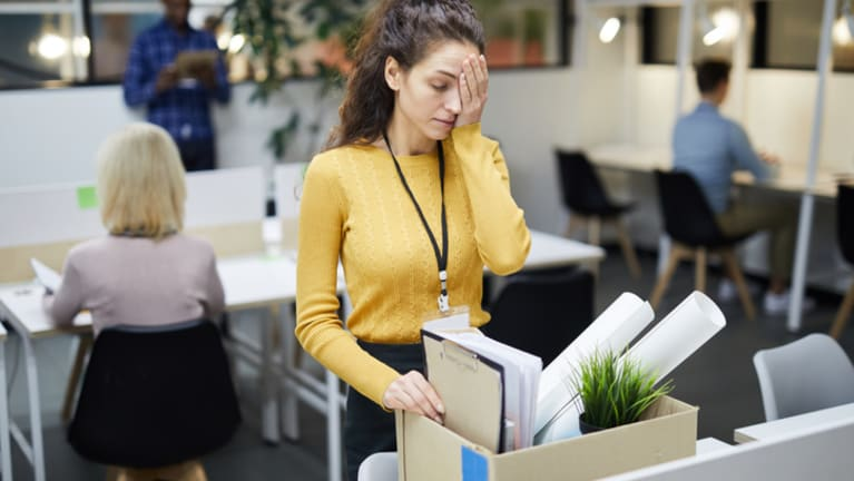 woman being laid off