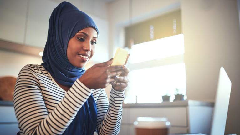 muslim woman working