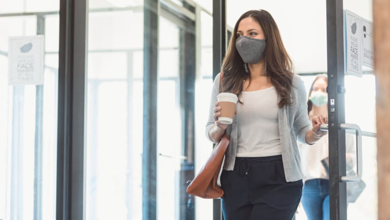 walking into office with mask