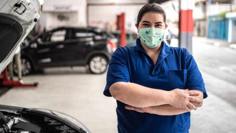 woman working at autoshop