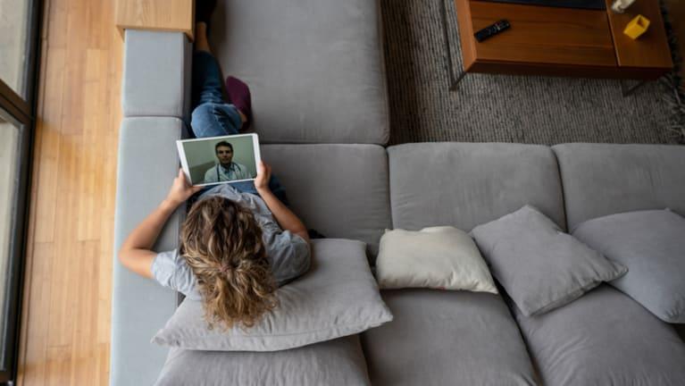woman using telehealth option