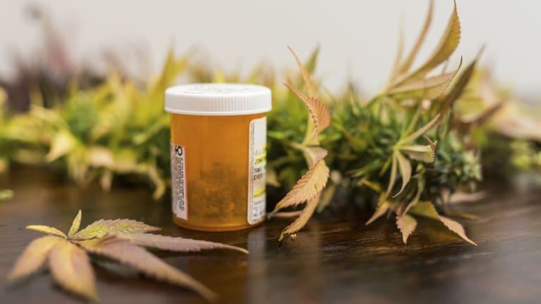 marijuana leaves and prescription bottle