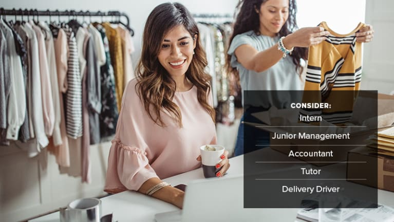 • Retail employees: intern, junior management, accountant, tutor, delivery driver