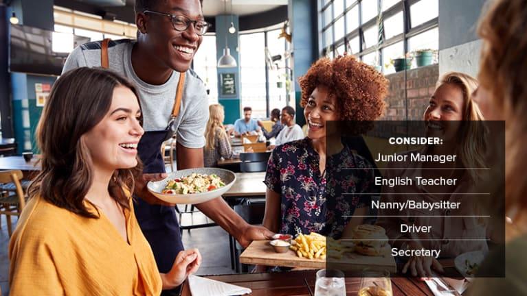 • Food service employees: junior manager, English teacher, nanny/babysitter, driver, secretary