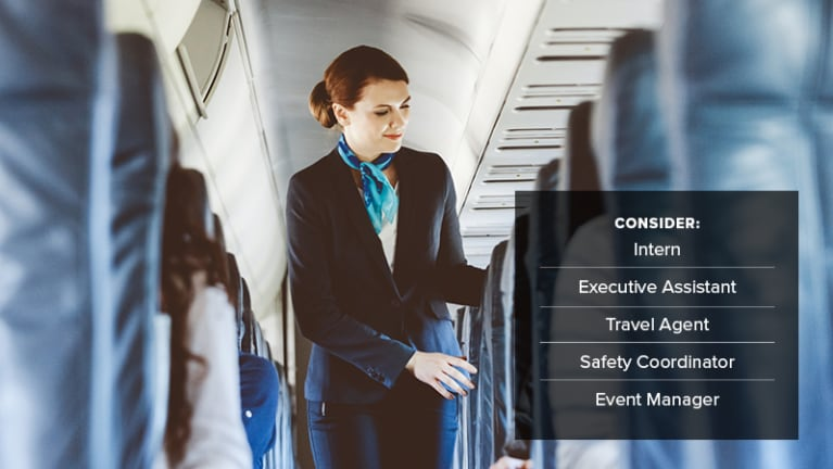• Flight attendants: intern, executive assistant, travel agent, safety coordinator, event manager