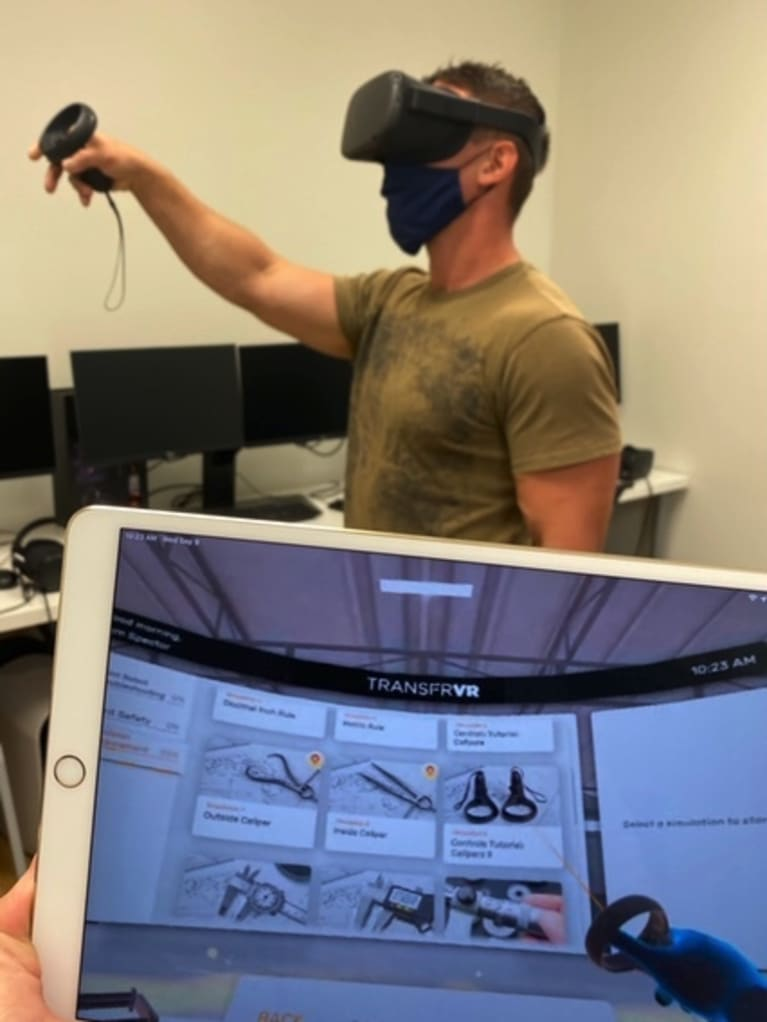 A trainee using the virtual training program. Photo courtesy of TRANSFR.