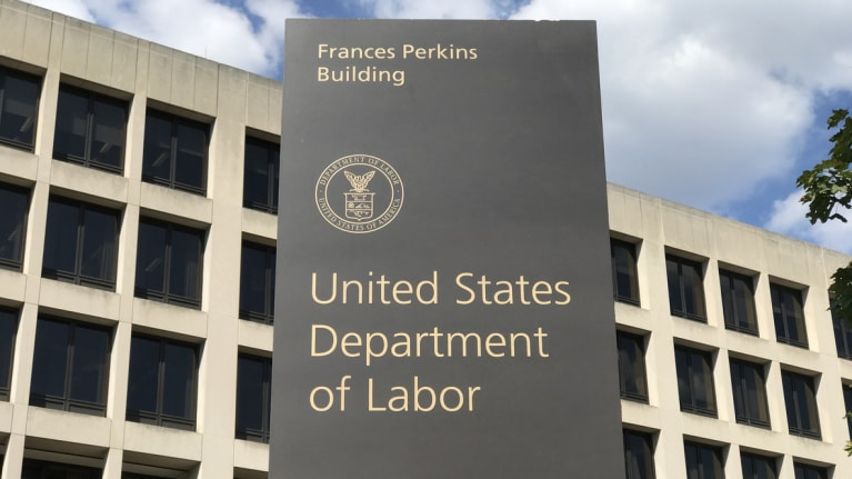 US Department of Labor Sign and Exterior