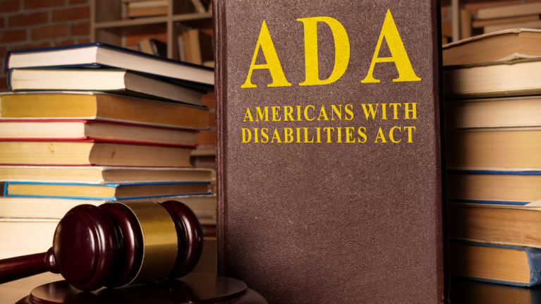 Gavel and Americans with Disabilities Act ADA book
