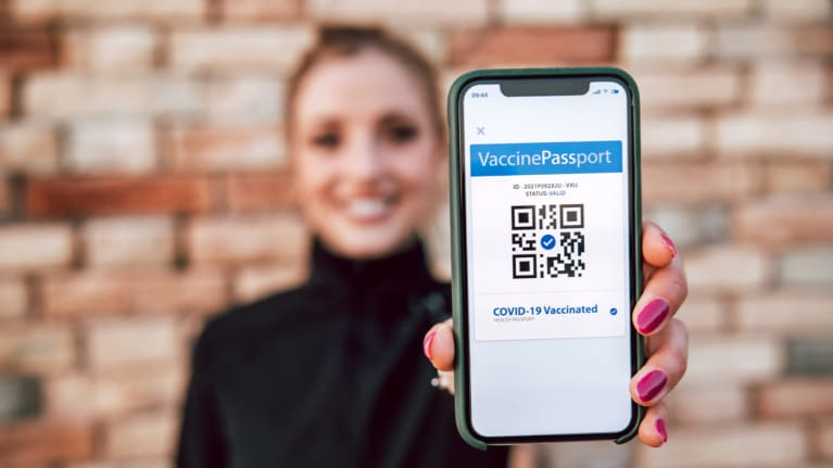 Covid Vaccination Passport on Mobile Phone