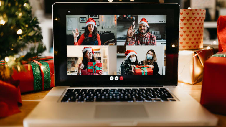Video call on a laptop screen during holidays