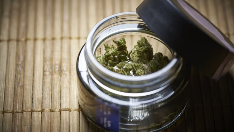 cannabis in a glass jar