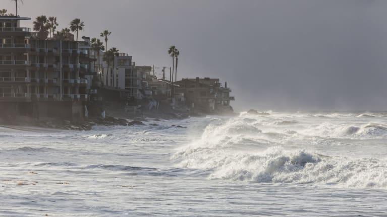 storm surge at beach