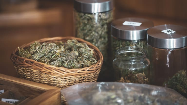 Cannabis products in jars and baskets