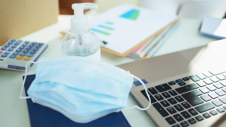 sanitizer, mask, keyboard, calculator