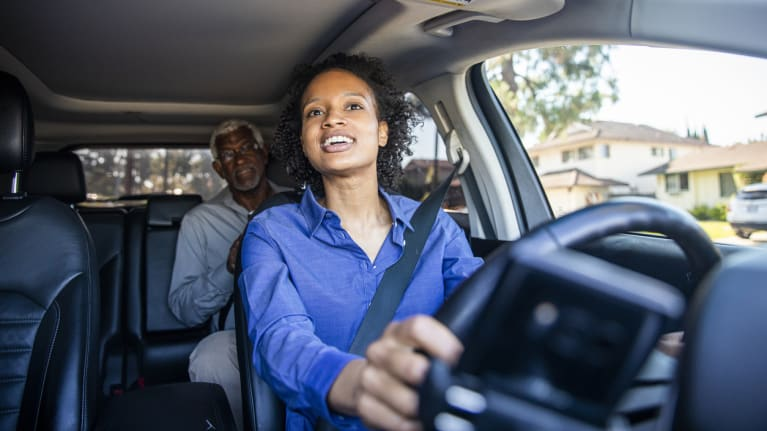 Woman Driving Car for Rideshare