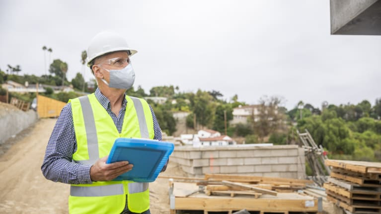 Construction Manager Wearing a Mask