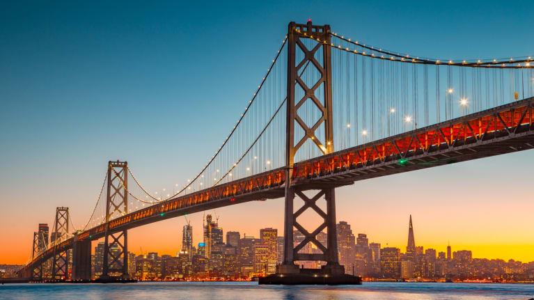 San Francisco skyline with Oakland Bay Bridge