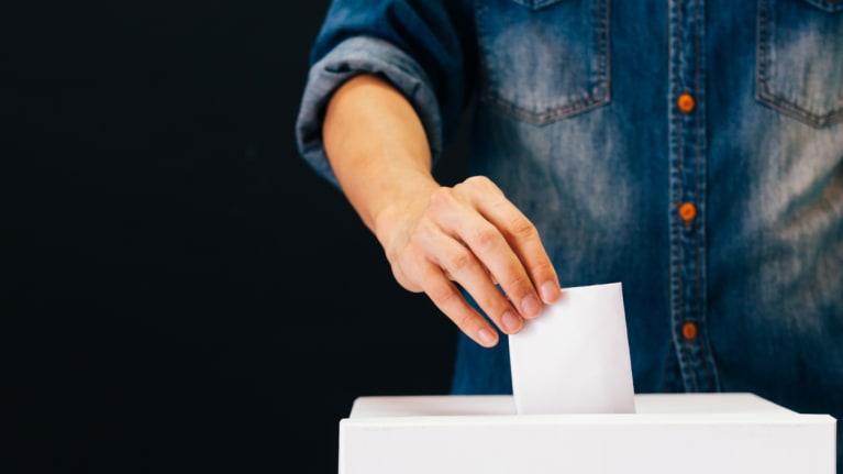 someone casting a vote