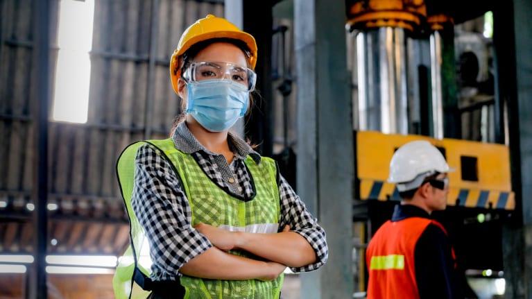 woman wearing safty gear