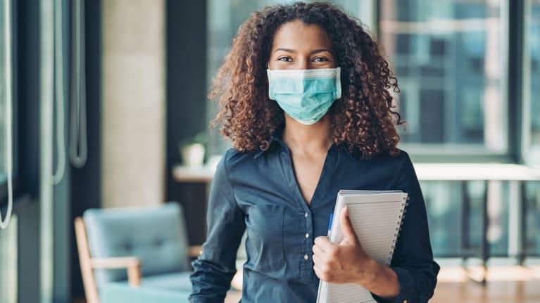 business woman wearing face mask