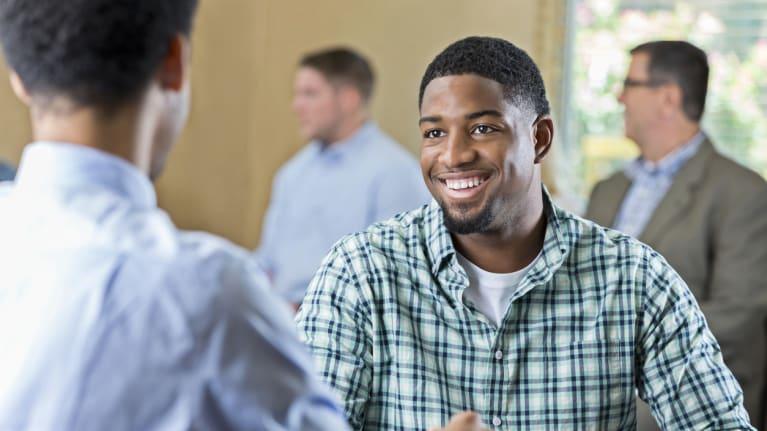 Black man at job interview