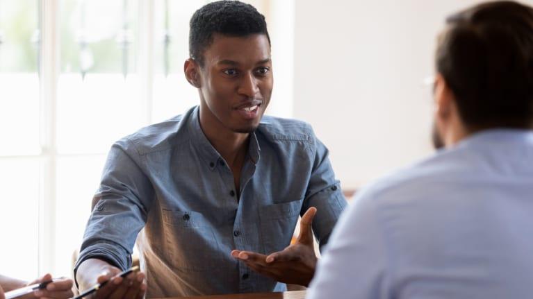 A job applicant being interviewed