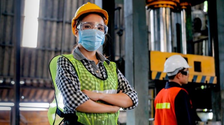 worker wearing safety gear