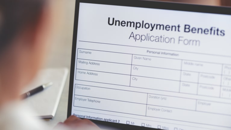 online unemployment benefits application form on a tablet