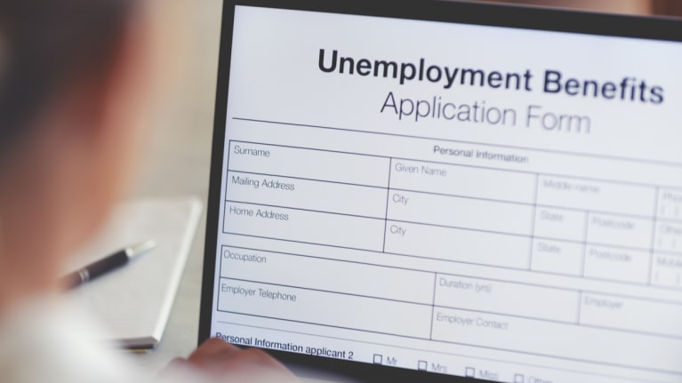 person applying for unemployment benefits online