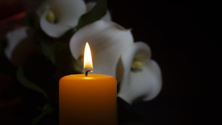 candle andn flowers