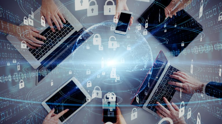 Network security concept with laptops, phones and digital locks