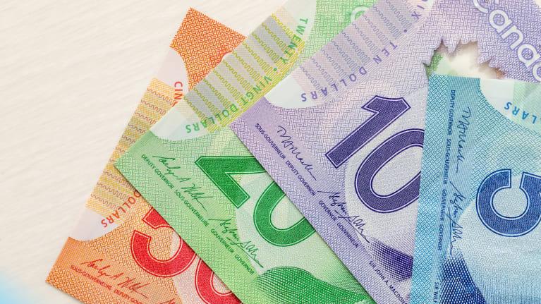 Canadian 5, 10, 20 and 50 dollar bills