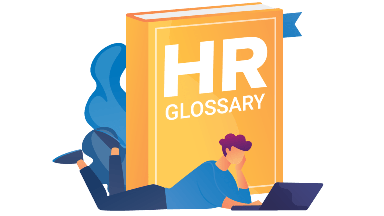 HR Glossary book with a person browsing on a computer
