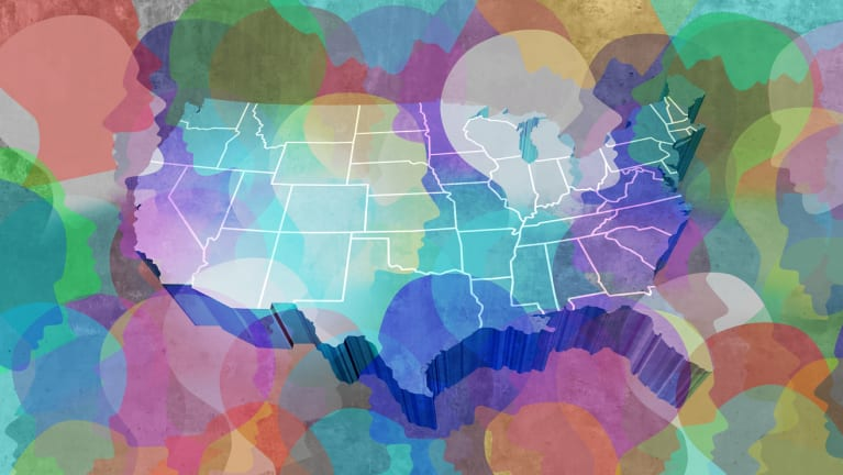 map of the United States with silhouettes of faces