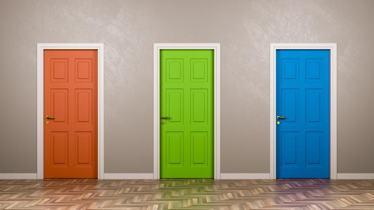 three doors representing three choices