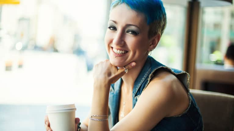 Blue Hair Topped by a Beanie? Both Now OK at Starbucks